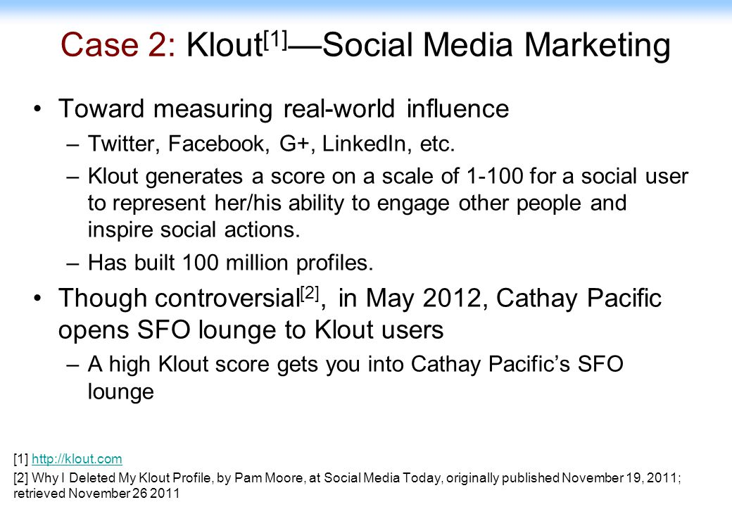 Case 2: Klout[1]—Social Media Marketing